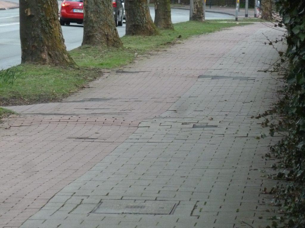 Wolbecker Straße Gehweg vor dem Umbau