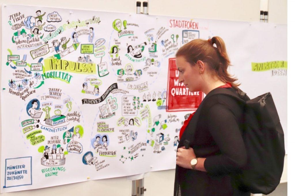 junge Frau steht vor einem Plakat mit das die Interessen und Ideen der Teilnehmer an der Bürgerbeteiligung zeigt.