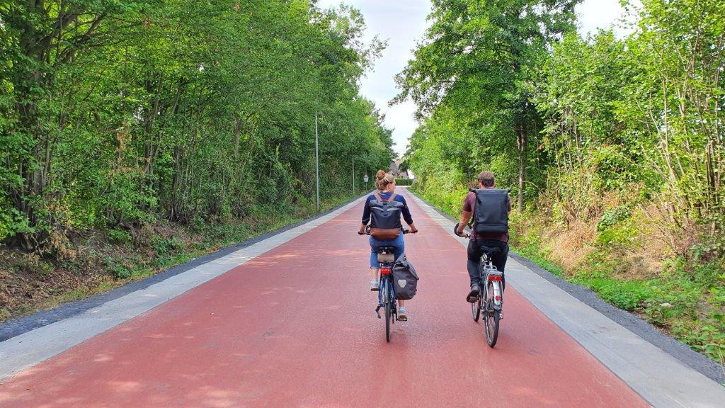 rot gekennzeichneter breiter Fahrradweg führt durch ein Waldstück